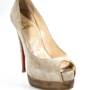 Christian Louboutin Taupe Suede Pumps - Size 37